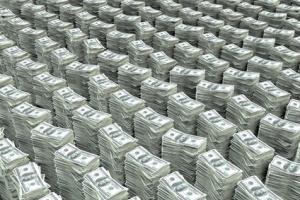 Viele 100 Dollar Banknoten